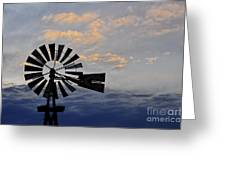 Windmill And Cloud Bank At Sunset Greeting Card
