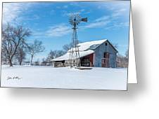 Windmill And Old Barn In Fresh Snow Greeting Card