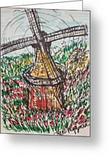 Windmill And Tulips  Greeting Card