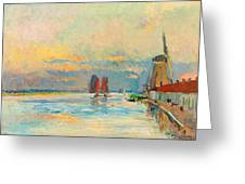 Windmill At A Channel In Rotterdam Greeting Card