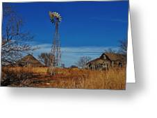 Windmill At An Old Farm In Kansas Greeting Card
