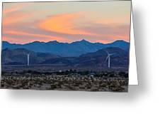 Windmill Desert Sunset Greeting Card