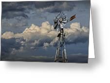 Windmill Energy On Old Prairie Farm Greeting Card