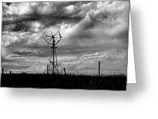 Windmill Foreground A Dramatic Sky Baw Greeting Card