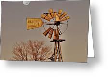 Windmill Fullmoon Greeting Card