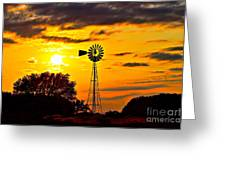 Windmill In Texas Sunset Greeting Card