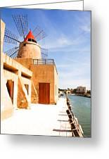 Windmill On Canal - Trapani Salt Flats Greeting Card