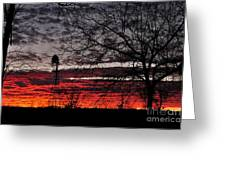 Windmill Sunset Two Greeting Card