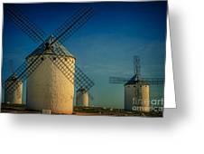 Windmills Under Blue Sky Greeting Card