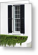 Window And Black Shutters Greeting Card