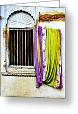 Window And Sari Greeting Card
