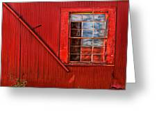 Window In Red Greeting Card
