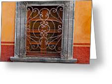 Window On Orange Wall San Miguel De Allende Greeting Card