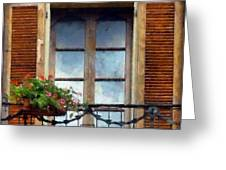 Window Shutters And Flowers I Greeting Card