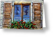 Window Shutters And Flowers IIi Greeting Card