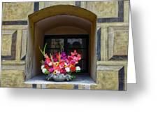 Window Sill Flower Arrangement At Cesky Krumlov Castle In The Czech Republic Greeting Card