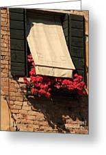 Window With Flowers In Venice Greeting Card