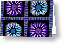 Windowpanes Brimming With  Moonburst Stripes Of Flowers - Scene 1 Greeting Card