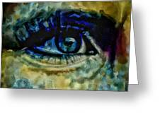 Windows Into The Soul Eye Painting Closeup All Seeing Eye In Blue Pink Red Magenta Yellow Eye Of Go Greeting Card