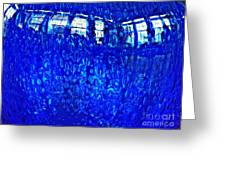 Windows Reflected On A Blue Bowl Greeting Card