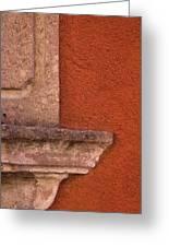 Windowsill And Orange Wall San Miguel De Allende Greeting Card
