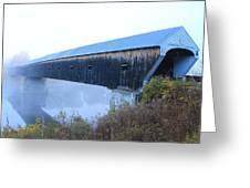 Windsor Cornish Covered Bridge Fog Greeting Card