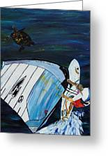 Windsurfing And Sea Turtle Greeting Card