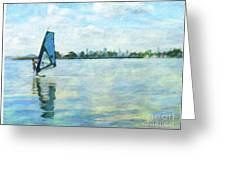 Windsurfing In The Bay Greeting Card