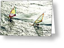 Windsurfing Silver Waters Greeting Card