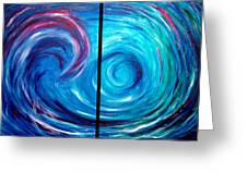 Windswept Blue Wave And Whirlpool 2 Greeting Card