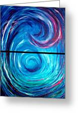 Windwept Blue Wave And Whirlpool Diptych 1 Greeting Card
