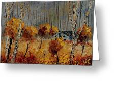 Windy Autumn Landscape  Greeting Card