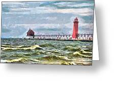 Windy Day At Grand Haven Lighthouse Greeting Card