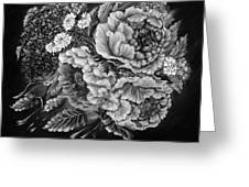 Windy Flowers Black And White Greeting Card