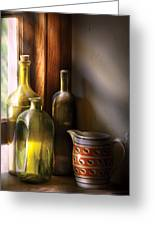 Wine - Three Bottles Greeting Card by Mike Savad