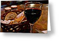 Wine And Bread Greeting Card