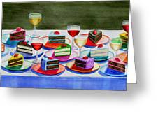 Wine And Cake Greeting Card