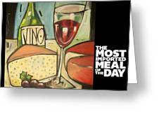 Wine And Cheese Imported Meal Greeting Card
