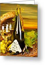 Wine And Cheese Romantic Dinner Outdoor Greeting Card by Anna Om