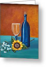 Wine And Flowers Greeting Card
