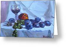 Wine And Fresh Fruits Greeting Card