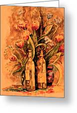 Wine And Tulips Greeting Card