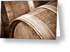 Wine Barrel In Cellar Greeting Card