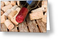 Wine Bottle And Corks Greeting Card