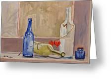 Wine Bottles On Shelf Greeting Card