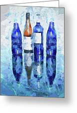 Wine Bottles Reflection  Greeting Card