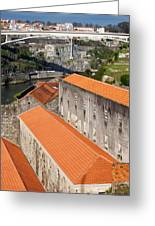 Wine Cellars In Vila Nova De Gaia By The Douro River Greeting Card