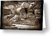 Wine Country Sepia Vignette Greeting Card