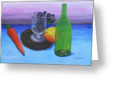 Wine Glass And Fruits Greeting Card by M Valeriano