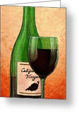 Wine Glass With Bottle Greeting Card